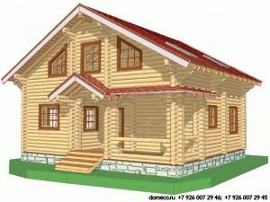 проект дома из оцилиндрованного бревна ДР1