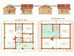 План дома из оцилиндрованного бревна ДР 1