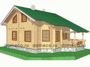 проект дома из оцилиндрованного бревна ДР2