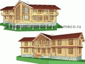 проект дома из оцилиндрованного бревна ДР24