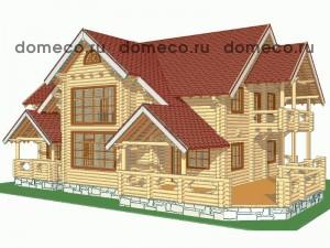 проект дома из оцилиндрованного бревна ДР7