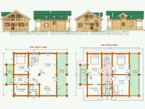 Проект деревянного дома из оцилиндрованного бревна ДР 11