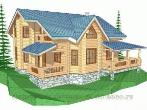 проект дома из оцилиндрованного бревна ДР6