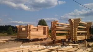 строительство въездной группы из оцилиндрованного бревна у партнера Вотчина