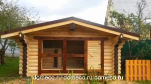 деревянный дом, вольер, сруб