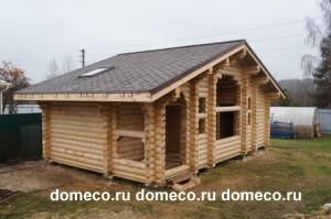 деревянная баня из оцилиндрованного бревна по индивидуальному проекту